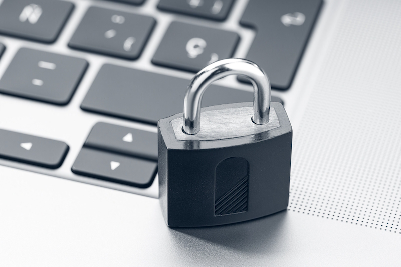 padlock on computer depicting cyber security