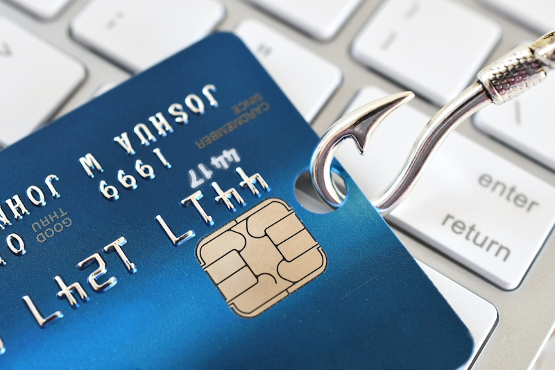 credit card on hook depicting phishing cyber security risks